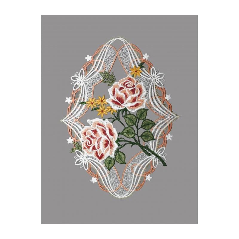 Traumhaftes Fensterbild mit großen Rosenblüten aus echter Plauener Spitze