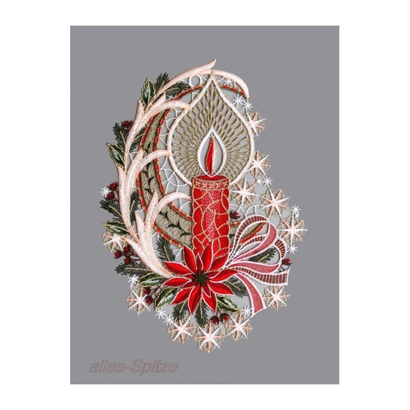 Elegante Kerze in rot mit Sternen und Schleife aus Plauener Spitze