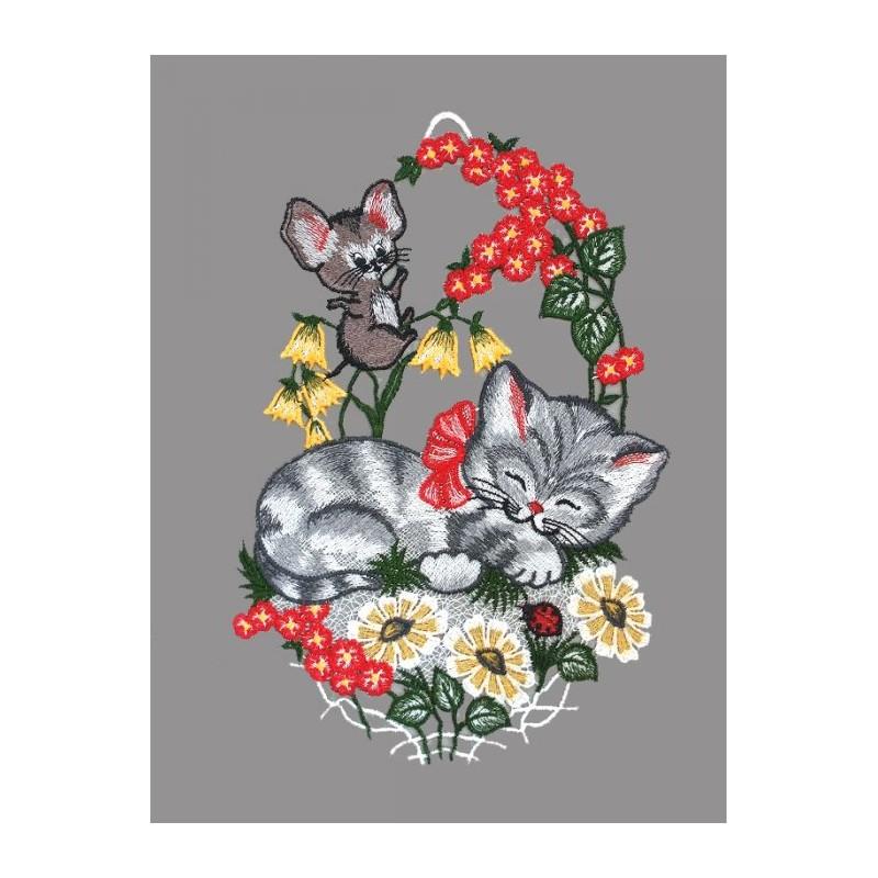 Fensterbild Katze und Maus