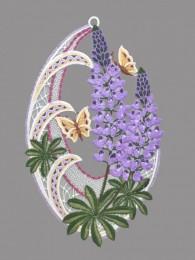 Dekorative Lupinen aus Plauener Spitze lila