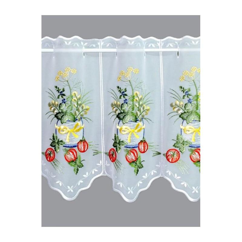 Mit klassischem Stickereimotiv bestickte Küchengardine in 35 und 55 cm Höhe.