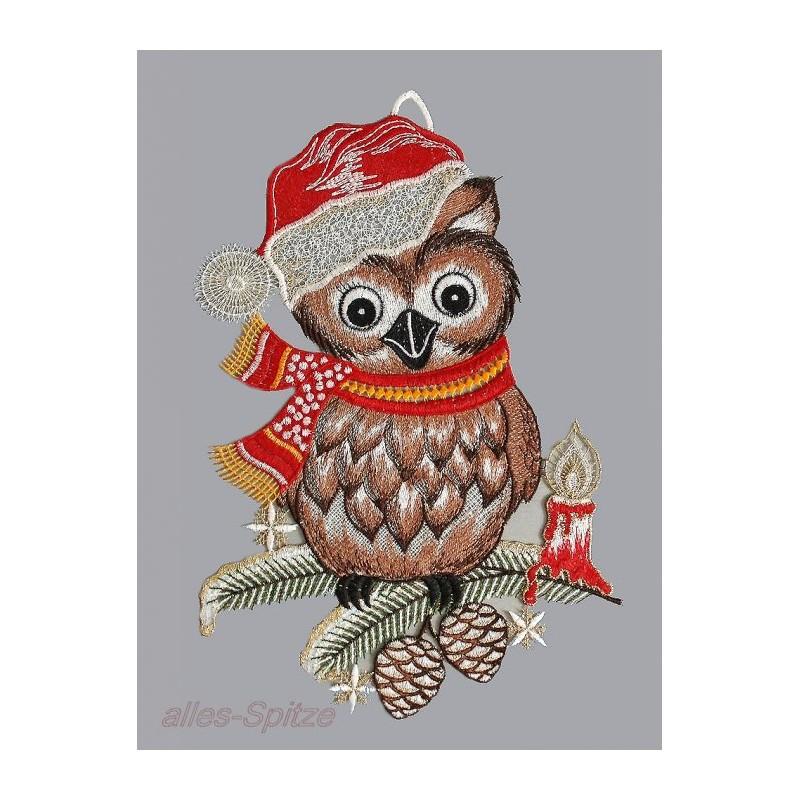 Lustige Eule mit Weihnachtsmütze und schal aus echter Plauener Spitze