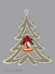 Zarter kleiner Weihnachtsbaum mit Glocke im Mittelpunkt