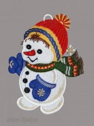 Süßer kleiner Schneemann mit Schal und Mütze aus Plauener Spitze