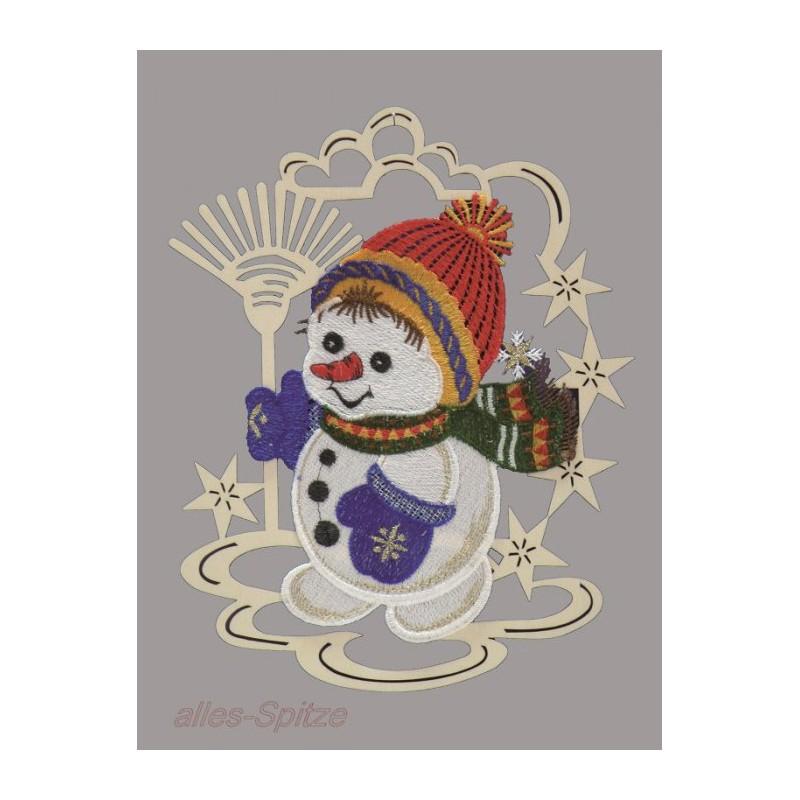 Schneemann im Holzrahmen