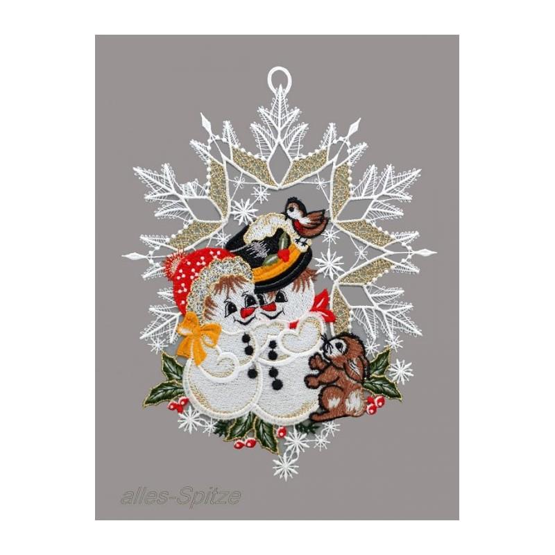 Süßes Schneemannpärchen mit Hase im aufwändig dekorierten Spitzenstern