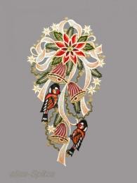 Weihnachtsfensterbild mit großer Schleife, Vögelchen und Glocken aus Plauener Spitze