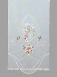 Dekorativer Türhänger in 90 cm Breite, bestickte mit einer dekorativen Winterlandschaft mit Schneemann.