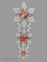 Dieses große elegante Fensterbild zeigt drei festlich geschmückte Spitzen-Sterne