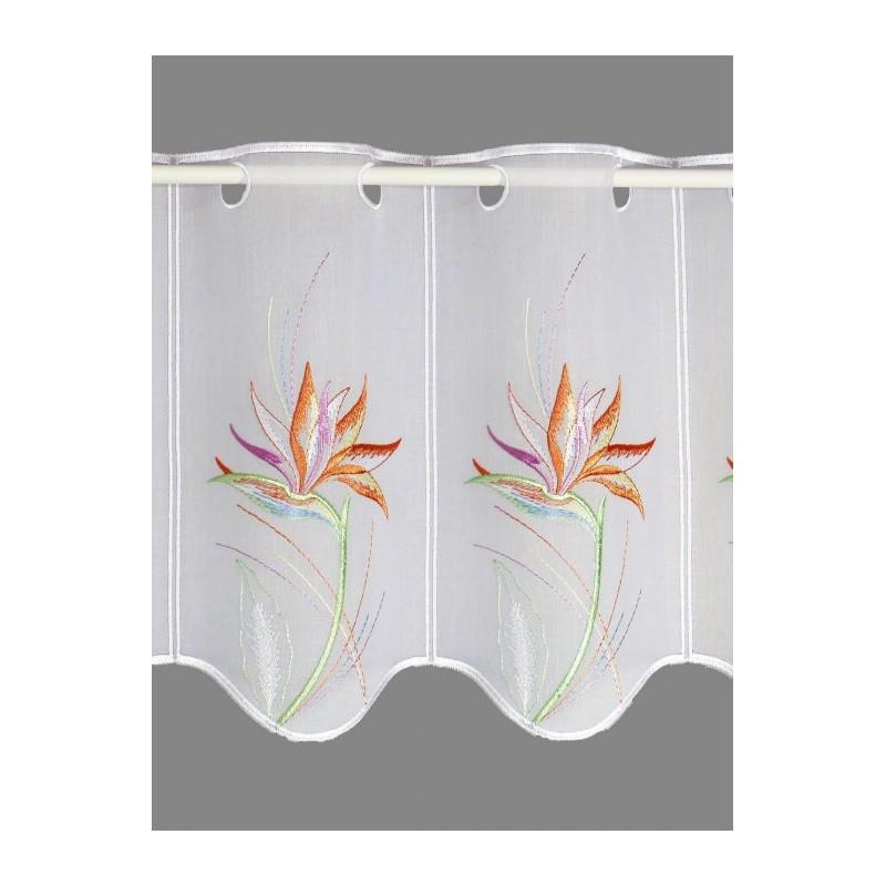Farbenfrohe Strelitzienblüten prangen auf dieser elegante Scheibengardine in 30,45 und 55 cm Höhe.