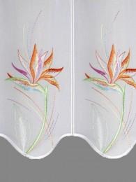 Scheibengardine Strelitzie farbig detailansicht