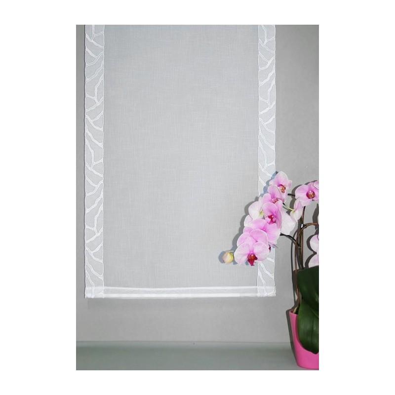 Blickdichte Flächengardine mit attraktiven Stickereikanten in weiß.