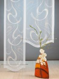 Transparente Stickerei-Flächengardine mit harmonischem Bogenabschluß.