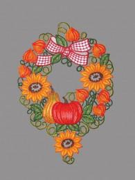 Herbstkranz mit Kürbis und Sonnenblumen aus Plauener Spitze