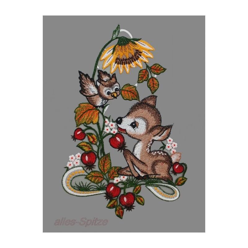 Rehlein unter einer Sonnenblume aus Plauener Spitze