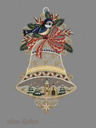 große Glocke mit Meise und einer zarten Winterlandschaft im Inneren