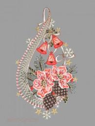 Festliches Fensterbild mit Christrosen, Zapfen und Glöckchen aus Plauener Spitze