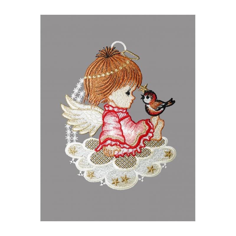 kleiner Engel mit Vogel auf einer Wolke aus Plauener Spitze