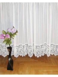 Wunderschöne Plauener Spitzen-Gardine mit zarter Spitzensockelkante n weiß.