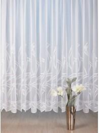 Elegante Plauener Spitzen-Gardine mit breiter Stickereikante mit modernem Touch.
