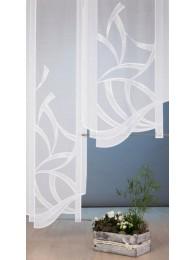Elegant bestickte Flächengardine mit hochwertigem Bogenabschluß.