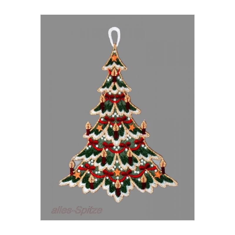 Kleiner festliche geschmückter Weihnachtsbaum aus Plauener Spitze