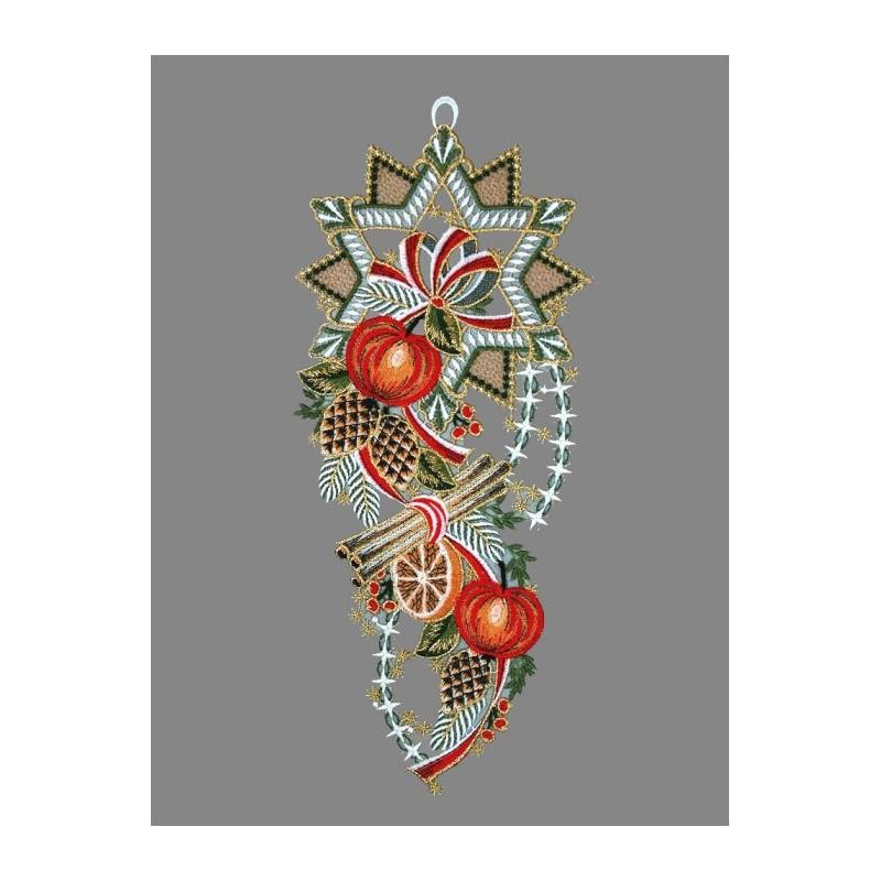 Festlicher dekorierter bunter Spitze-Stern mit Schleife, Zapfen und Äpfeln