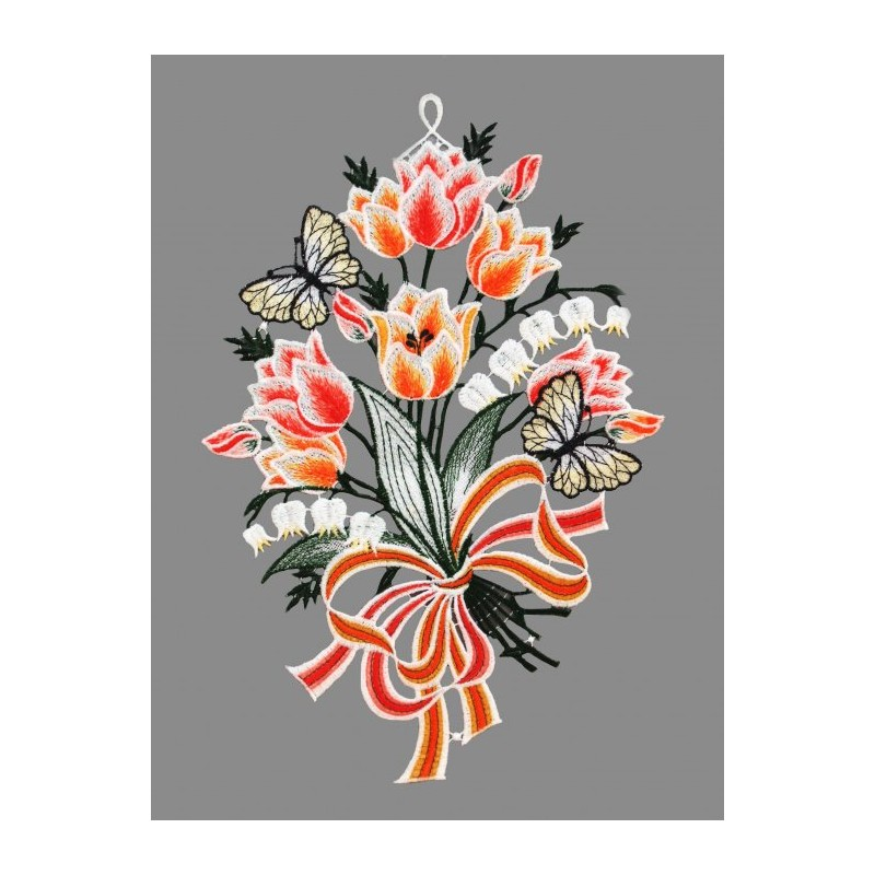 Frühlingsblumen mit Schmetterlingen aus Plauener Spitze