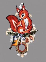 Eichhörnchen mit Meise