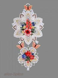 Zwei Medaillons mit Blütenstrauß