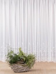 Zeitlos in weiß bestickte Gardine für die moderne Fensterdekoration.