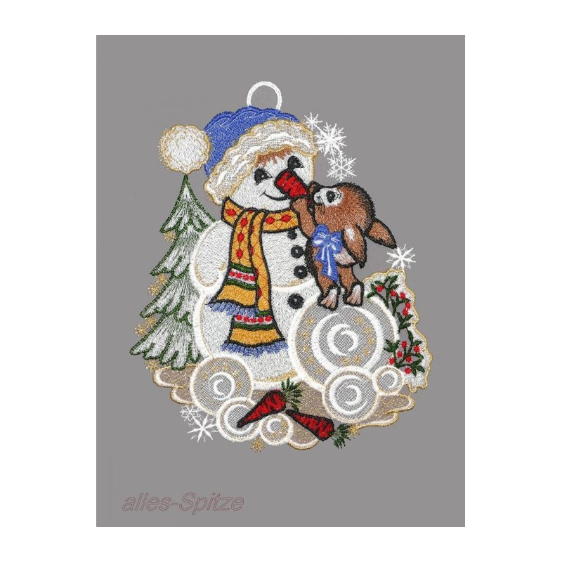 Winterfensterbild mit Schneemann und Hase aus echter Plauener Spitze