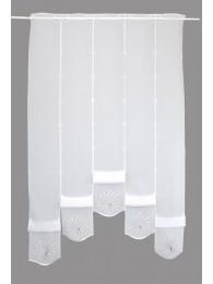Modern mit Strahlenornamenten in weiß und taupe bestickte Raffgardine