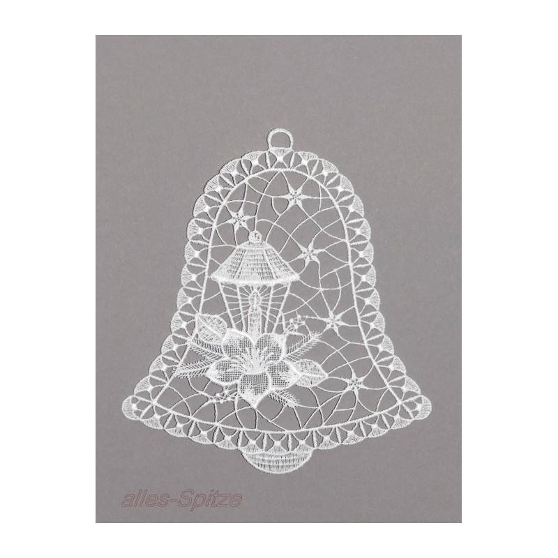 Glocke mit Laterne und Christrose aus cremeweißer Plauener Spitze