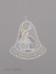 Glocke mit Schneemann in weiß-gold