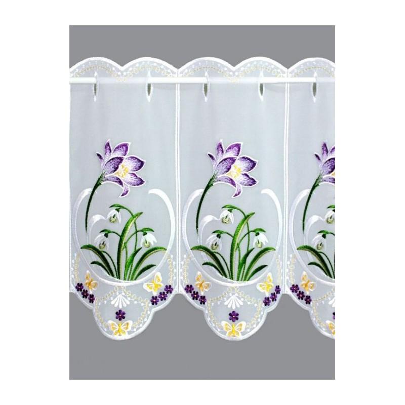 Mit Schneeglöckchen und lila Krokusblüten bestickte Frühlings-Kurzgardine in 35 und 55 cm Höhe