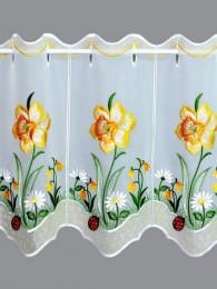 Mit großen Osterglocken in strahlendem Gelb bestickte Plauener Stickerei-Kurzgardine in 35 und 55 cm Höhe.