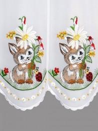 Stickerei-Scheibengardine Hase mit Marienkäfer detailansicht