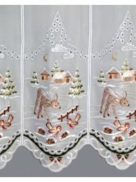 Gardine Winterwald mit Reh detail
