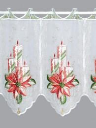 Üppig bestickte Weihnachtsgardine in 35 und 55 cm Höhe