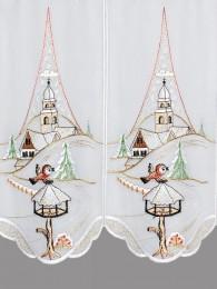 Kurzgardine Winterlandschaft mit Kirche detail
