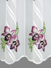 Kurzgardine Orchideenblüten in lila detailbild