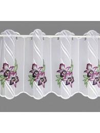 kleine Kurzgardine Orchideenblüten in lila