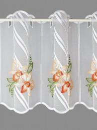 Plauener Stickerei-Bistrogardine mit malerischen Orchideenblüten in lachs bestickt.