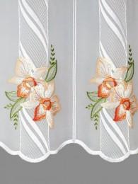 Bestickte Kurzgardine Orchideenblüten in lachs detailbild