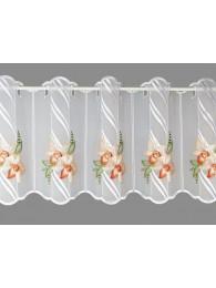 kleine Bestickte Kurzgardine Orchideenblüten in lachs