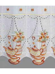 Bestickte Bistrogardine Teatime in braun detailbild