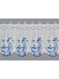 kleine Küchengardine Teatime in blau