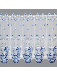 große Küchengardine Teatime in blau