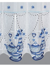 Küchengardine Teatime in blau detailbild